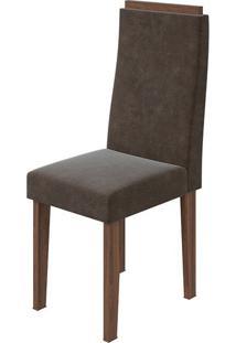 Cadeira Dafne Velvet Chocolate Imbuia Naturale