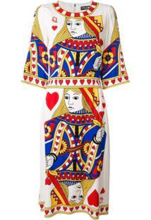 Dolce & Gabbana Vestido Queen Of Hearts Em Seda Mista - Estampado