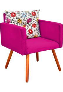 Poltrona Decorativa Bella Composê Estampado Floral Color D17 Com Suede Pink - D'Rossi