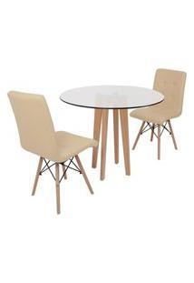 Conjunto Mesa De Jantar Em Vidro 90Cm Com Base Vértice + 2 Cadeiras Gomos - Nude