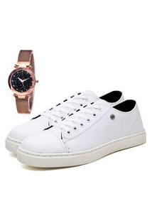 Tênis Sapatênis Casual Elegant Com Relógio Gold Feminino Dubuy 302La Branco