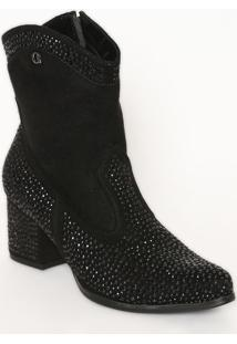 Ankle Boot Acamurçada Com Termocolantes- Preta- Saltcarmen Steffens