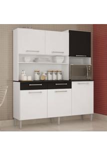 Cozinha Compacta 6 Portas 2 Gavetas Valéria 6174 Branco/Preto - Poquema