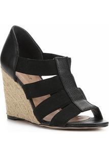 Sandália Shoestock Couro Elástico - Feminino-Preto