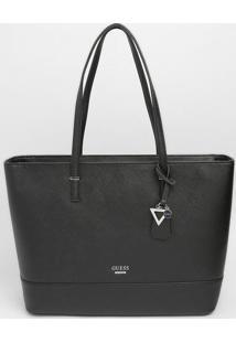 Bolsa Com Tag & Bolso Externo- Preta- 27,5X42X13Cm