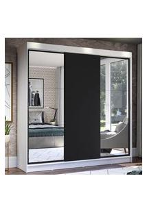 Guarda-Roupa Casal Madesa Istambul 3 Portas De Correr Com Espelhos 3 Gavetas - Branco/Preto Branco