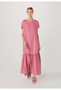 Vestido Evasê Midi Alongado Rosa