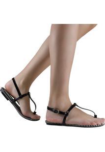 Sandália Zariff Shoes Rasteira Listrada Preto