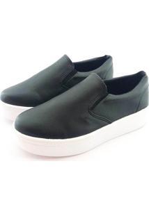 Tênis Flatform Quality Shoes Feminino 009 Courino Preto 40