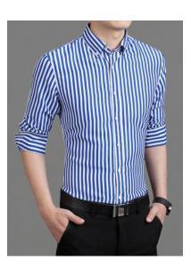 Camisa Masculina Listrada Slim Manga Longa - Azul