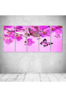 Quadro Decorativo - Pink Butterfly - Composto De 5 Quadros - Multicolorido - Dafiti