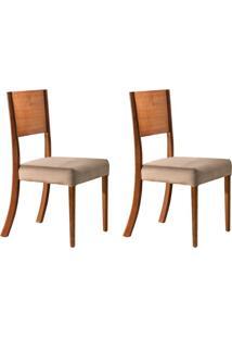Conjunto Com 2 Cadeiras De Jantar Escócia Imbuia E Bege