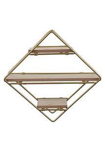 Estante Decorativa Geométrica Metálica Com Suportes De Madeira Dourado Com Marrom 30X30X10 Cm D'Rossi