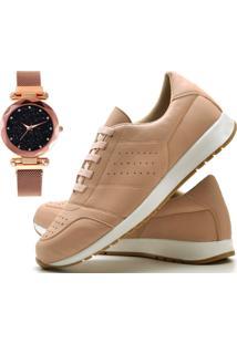 Tênis Sapato Casual Com Relógio Pulseira Fechamento Magnético Juilli 1102M Nude