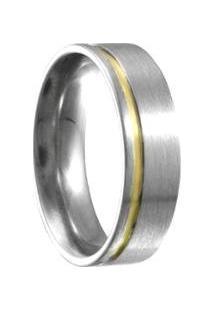 Aliança Compromisso De Aço C/ Filete De Ouro -12 - Unissex-Prata