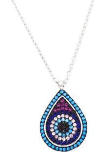 Colar La Madame Co Pingente Mosaico Gota Olho Grego Zircônias Coloridas Em Prata 925