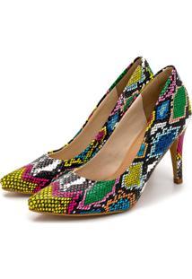 Sapato Scarpin Salto Alto Fino Em Cobra Colorida