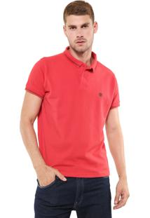 Camisa Polo Timberland Slim Tdl 4 Stripes Vermelha