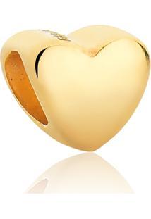 Pingente De Prata 925 Banho Dourado Separador Coração Liso For Me-Coleção Charms