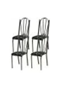 Kit 04 Cadeiras Tubular Cromo Preto 021 Assento Preto Florido