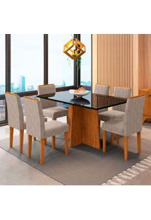 Conjunto De Mesa De Jantar Com 6 Cadeiras Estofada Ana Animalle Preto Bege