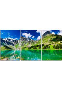 Quadro Decorativo Para Sala Montanha Lago Verde - Multicolorido - Dafiti