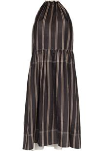 Lee Mathews Vestido Midi Drapeado - Preto