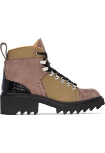 Chloé Ankle Boot Hiking Com Salto 50Mm - Verde