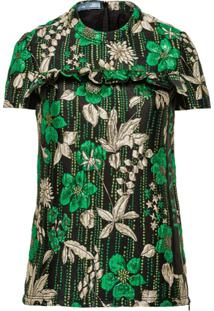 Prada Blusa Mangas Curtas - Verde