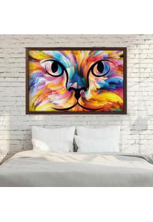 Quadro Love Decor Com Moldura Color Cat Madeira Escura - Grande