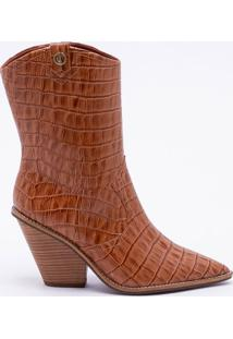 Ankle Boot Couro Croco Camel