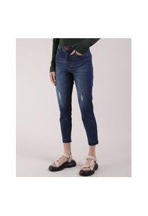 Calça Jeans Feminina Cropped Cintura Média Com Puídos Azul Escuro