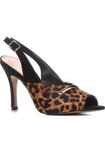 Sandália Couro Shoestock Salto Alto Pelo Onça Slingback Feminina - Feminino-Onça