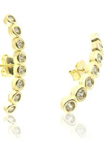 ... Brinco Piuka Ear Hook 7 Zircônias Folheado A Ouro 18K - Feminino-Dourado c7717104a0
