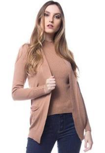 Cardigan Logan Tricot Modal Com Bolso Conforto Feminino - Feminino-Bege