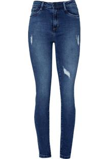 Calca Jeans Cigarrete Vintage (Jeans Medio, 46)