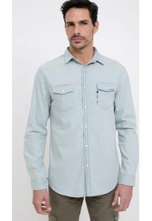 Camisa Slim Com Bordado Nas Costas Em Jeans
