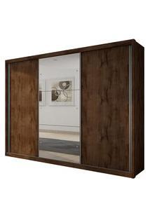 Guarda Roupa Novo Horizonte Paradizzo Plus Espelho 3 Portas Canela