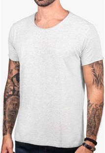 Camiseta Básica Mescla Claro Gola Rasgada 101774
