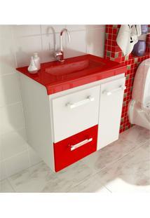 Gabinete Para Banheiro 60 Cm Com 2 Peças Vetro 13 Branco E Vermelho Tomdo