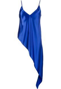 Ssheena Blusa Alças Finas Assimétrica De Cetim - Azul