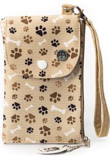 Carteira Kmk Brasil Porta Celular Pet Love Bege
