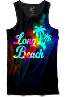 Camiseta Regata Long Beach Psicodélica Neblina Sublimada Preto