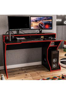 Mesa Gamer Fremont Para 2 Monitores Preto/Vermelho - Politorno