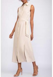 Vestido Regata Chemise Com Faixa Em Tecido Areia-38