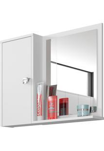 Espelheira C/ Armário Gênova Branco Móveis Bechara