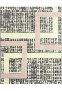 Tapete Classe A Geométrico- Cinza Escuro & Rosa Claro