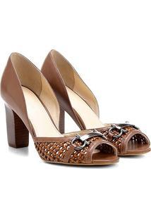Peep Toe Couro Shoestock Salto Grosso Tressê Bridão - Feminino