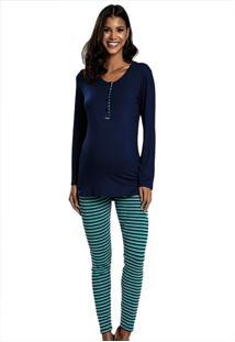 Pijama Longo Legging Em Cotton Listrado Azul