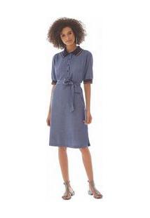 Vestido Curto Gola Polo Detalhe Retilinea Azul Pp